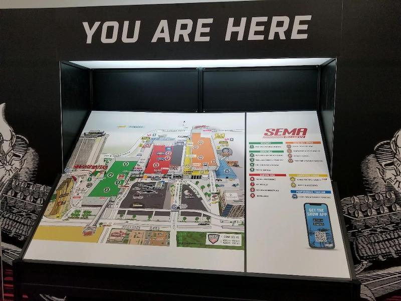 SEMA Show exhibitor booth map.